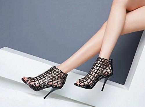 Lizform Donna Ritaglio Sandalo Stivali Open Toe Stiletto Sandali Indietro Cerniera Abito Scarpe Tacchi Alti Black4
