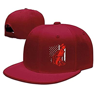Unisex Snapback Caps,Bass Fishing Lure and American Flag Adjustable Hip Hop Flat Brim Baseball Hat