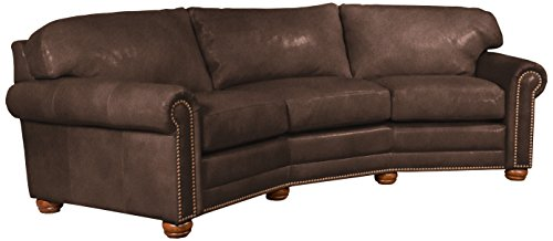 Omnia Leather Dominion 3 Seat Conversation Sofa in Leather, with Nail Head, Guanaco Dark Brown - Seat Conversation Leather Sofa