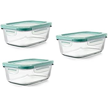 OXO Good Grips 3 Piece SNAP Glass Container Meal Prep Set