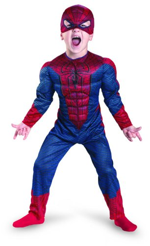 [Disguise Costumes The Amazing Spider-man Movie Muscle Costume, Red/Blue, Medium 3T-4T] (Muscle Chest Spiderman Costumes)