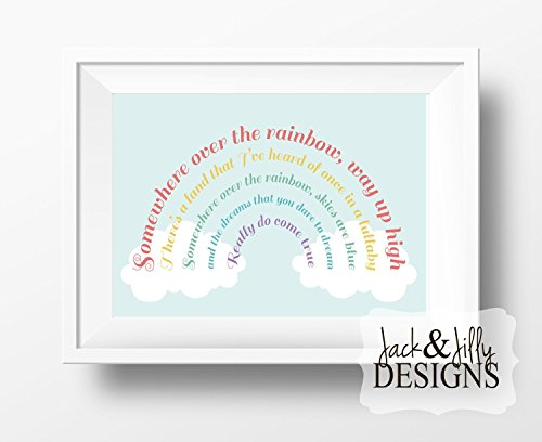 SOMEWHERE OVER THE RAINBOW - Art Print - Wizard of Oz - Clouds - Nursery Art - Nursery Print - Art Print - Decor - Baby Shower Gift - Wizard Of Oz Rainbow