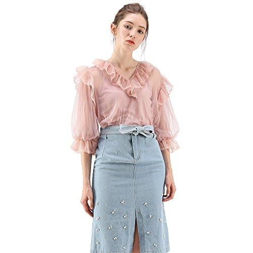 Chicwish Women's Pink Bubble Sleeves Ruffle Mesh Tulle Top