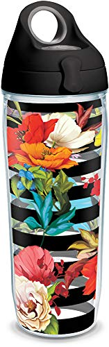 Tervis 1321380 Modern Botanical Insulated Tumbler with Wrap and Lid, 24 oz Water Bottle - Tritan, Clear ()