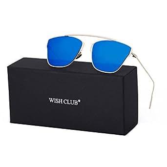 WISH CLUB Women Classic Cat Eye Sunglasses Fashion Round Reflective Mirrored Stylish Light UV 400 Glasses (Blue)