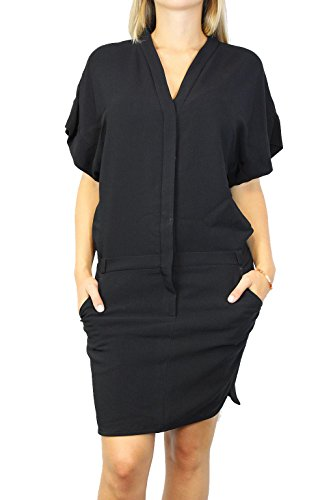 SET Damen Kleid Gr 32 Schwarz Damenmode Dress T-Shirt Kleid #O96