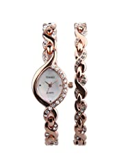 TIME100 Fashion Diamond Oval Shell Dial Bracelet Ladies Quartz Watch#W50119L (gold)