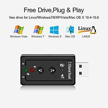 creatspaceES USB 2.0 Tarjeta de Sonido Externa 7.1CH Audio ...