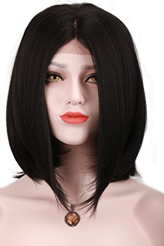 Synthetic Wig Black Straight Short Bob Middle Part Synthetic Lace Front Wigs For Women - Michael Jackson Curly Kids Wig