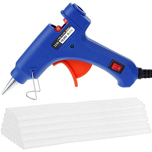 Upgraded Mini Hot Melt Glue Gun with 50pcs Glue Sticks,Removable Anti-hot Cover Glue Gun Kit with Flexible Trigger for DIY Small Craft Projects & Sealing and Quick Daily Repairs 20-watt,Blue ()