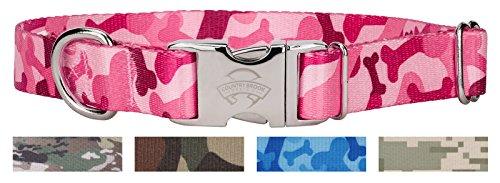 Country Brook Design Pink Bone Camo Premium Dog Collar - Medium -