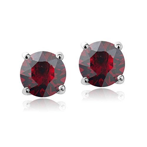 Bria Lou Silver Flashed Ruby July Birthstone Color Round Stud Earrings Made with Swarovski Crystals (6mm)