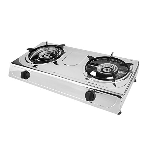 Propane Gas Stoves : Propane gas stove double burner stainless steel