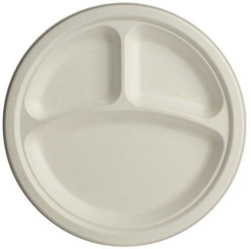 Brheez 9 inch Heavy Duty 3 Compartment Plates 100% Natural Sugarcane Biodegradable Compostable Bagasse, Eco-friendly paper alternative - Pack of 60