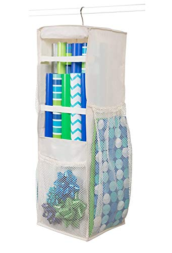 (Hanging Wrapping Paper Storage - Holds Up to 20 Rolls, 360 Swivel & Extra Durable Gift Wrap Organizer Bag with Side Bin Pockets for All of Your Birthday, Holiday (Ivory))