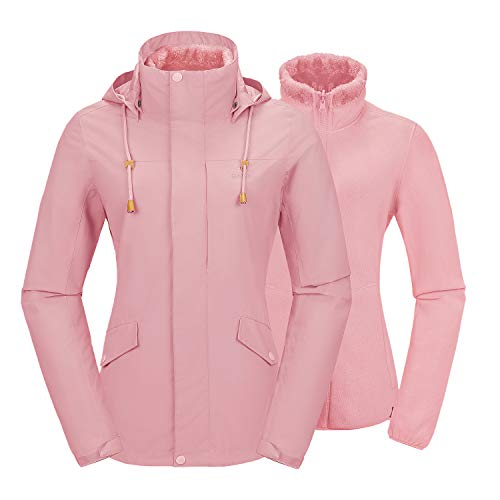 Camel Women's 3 in 1 Ski Jacket Waterproof with Inside Out Warm Fleece Coat Detachable Hooded Outdoor Snow Jacket Coral Pink