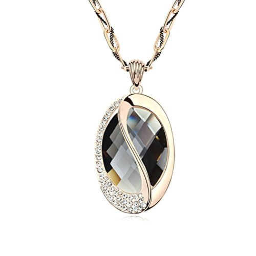 Gnzoe Women Long Jewelry Shiny Austrian Crystal Oval Shape Crystal Sweater Chain Necklace (Austrian Crystal Oval Necklace)
