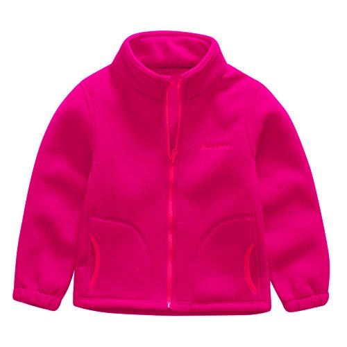 Geetobby Children Jacket Fleece Solid Color Zip Baseball Coats Zipper Outwear ()