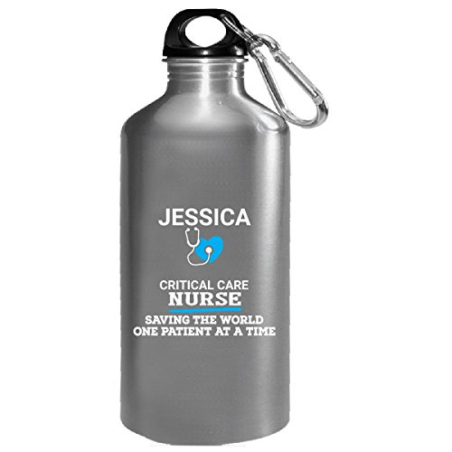 Jessica Critical Care Nurse Saving World One Patient At A Time - Water Bottle - Jessica Critical Care