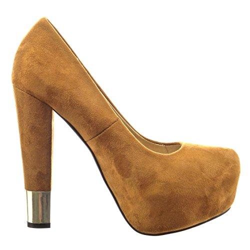 Sopily - Zapatillas de Moda Tacón escarpín decollete zapatillas de plataforma Tobillo mujer metálico Talón Tacón ancho alto 13 CM - Camel