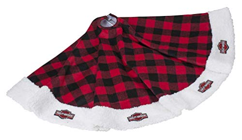 HARLEY-DAVIDSON Winter Tree Skirt - Red Buffalo Plaid w/Satin Lining HDX-99154