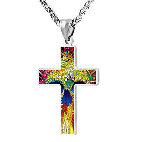 KOUY Christian Cross Pendant Necklace,Rainbow Skull Paint Religious Jewelry for Men and Women (24 in)]()