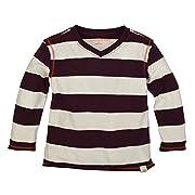 Burt's Bees Baby Baby Boys' Organic Long Sleeve Reverse Seam High V Tee Shirt, Deep Autumn Rugby Stripe, 3-6 Months