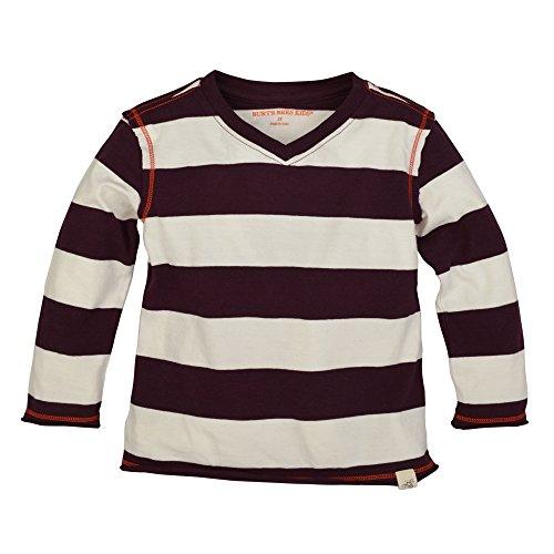 Burt's Bees Baby Baby Boys' Organic Long Sleeve Reverse Seam High V Tee Shirt, Deep Autumn Rugby Stripe, 12 Months Bee Long Sleeve T-shirt