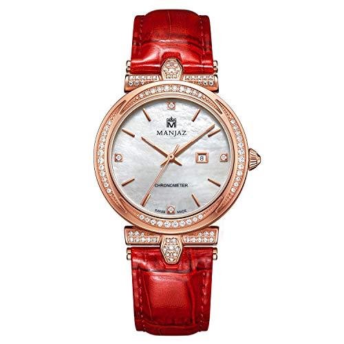 - Manjaz Women's Flora Wrist Watch Mother of Pearl Dial Swiss COSC Chronometer Analog Quartz Watch 6191U X3-RTR-P6