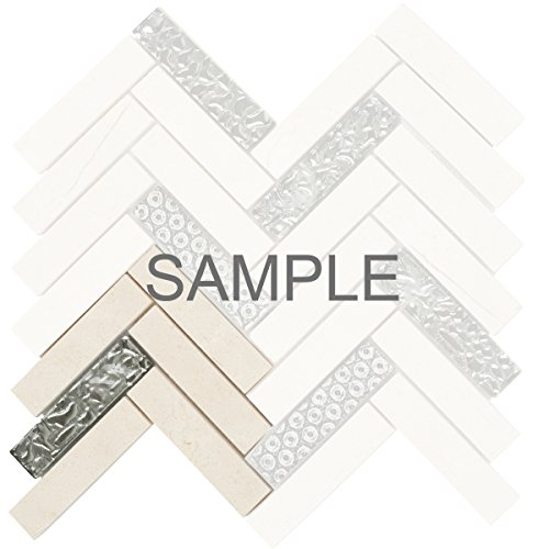 Modket TDH126MO-S Sample Beige Cream Crema Marfil Marble Stone Mosaic Tile, Deco Insert Blended Herringbone Pattern Backsplash