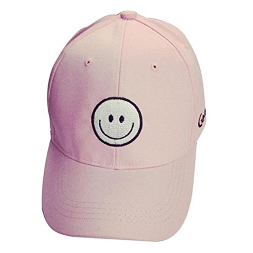 Hot Sale ! Kstare Snapback Hats,Womens Mens Cotton Print Smile Baseball Cap Snapback Hip Hop Flat Hat (Pink) (Solid Cap Twill Dyed Pigment)