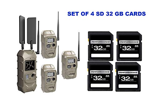 Cuddeback CuddeLink Starter Kit 3 + 1 Trail Camera Cellular Combo Pack and Set of 4 SD 32 GB Cards (5 Items)