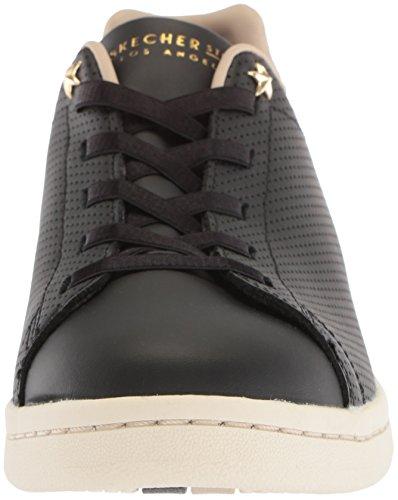 Skechers Donne Darma Perforata In Pelle Sneaker Taupe Nera