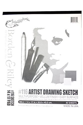 Borden & Riley #116 Artist Drawing/Sketch Vellum Pad, 14 x 17 Inches, 90 lb, 40 White Sheets, 1 Pad Each (116P141740)