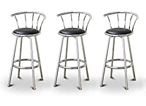 """3 24"""" Chrome Counter Height Bar Stools with Back Rests and a Black Vinyl Seat"""