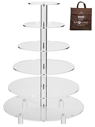 Jusalpha Large 6-Tier Acrylic Round Wedding Cake Stand- Cupcake Stand Tower/ Dessert Stand- Pastry Serving Platter- Food Display Stand (Large With Rod (Large Cupcake Stand)