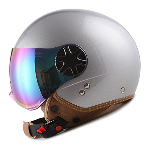 Silver Motorcycle Half Helmet - 1STORM MOTORCYCLE SCOOTER BIKE OPEN FACE/HALF FACE HELMET CLASSIC GLOSSY SILVER