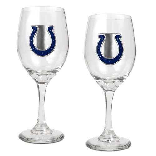 NFL Indianapolis Colts 14-Ounce Wine Glass (Set of Two)