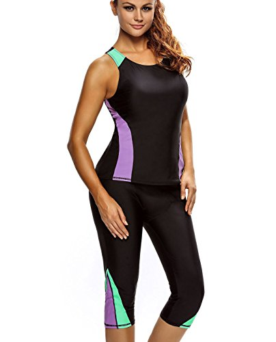- Azokoe Womens Summer Plus Size Color Blocked Swim Leggings Capri Pants Tankini Set 2PC Swimsuit Surfing Swimwear 2PCS Bathing Suit Seaside Wetsuit