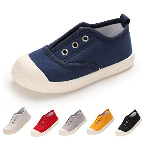 BENHERO Kids Canvas Sneaker Slip-on Baby Boys Girls Casual Fashion Boat Shoes (10 M US Toddler, A-Navy) ()