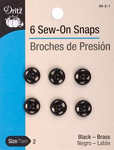 Size 2-6 Ct. Black Dritz Sew-On Snaps