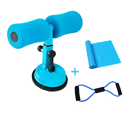Portable Self-Suction Situp Bar Adjustable Sit Up Equipment Helper, Include 1 Resistance Bands 7ft and 1 Free 8-Shape Resistance Tube, Great For Push Ups,Sit Ups, Muscle Training And Body Stretching by Kegto