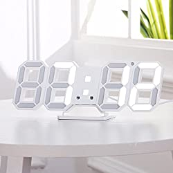 Yurieso 3D LED Digital Alarm Clock Wall Mount,USB Wall Clock Thermometer/Date,Simple House Standing Desk Bed Bedside Smart Alarm Clock for Bedroom/Women/Men Auto Dimmable 3 Brightness Level,12/24 Hrs
