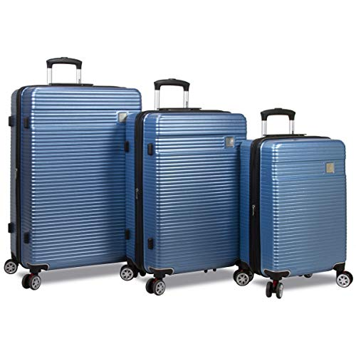 Dejuno 25DJ-8275-TEAL Blue Ashford Hardside Spinner TSA Combination Lock Luggage Set44; Teal – 3 Piece