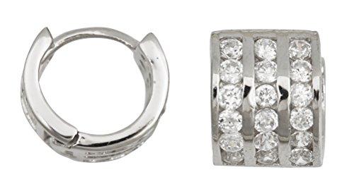 Decadence Women's Sterling Silver 3 Row Channel Set Huggies Hoop Earrings, One Size ()