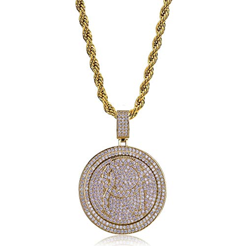 LC8 Jewelry Rapper Migos XO QC Rotatable Double disc Necklace,Hip Hop Iced Out Bling 18K Gold Plated Pendant Necklace with Stainless Steel Rope Chain, Ins Fashion Style (Gold-QC) (Qc Chain Gold)