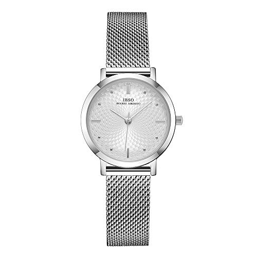 Women Stainless Steel Band Watches Ladies Quartz Wristwatches Waterproof Unique Design Mesh Bracelet Watch Relogio Feminino (3629 Silver SS)