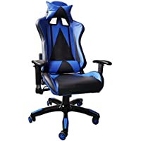 IDS Online Excecutive Racing Modern Leather High-Back Office Desk Chair, Blue