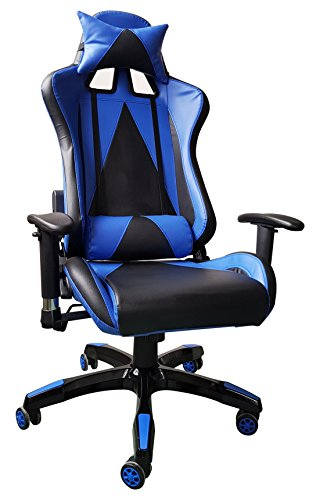 41iVk aXx7L - IDS Online Excecutive Racing Modern Leather High-Back Office Desk Chair, Blue