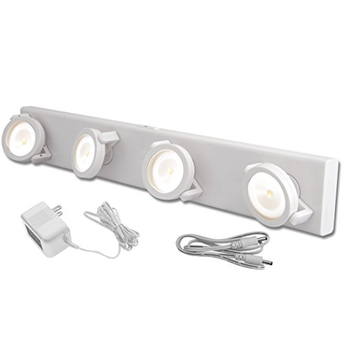 Rite Lite LPL704W-AC LED Independent Light Head Wireless and Wired Track Style Under Cabinet Light White